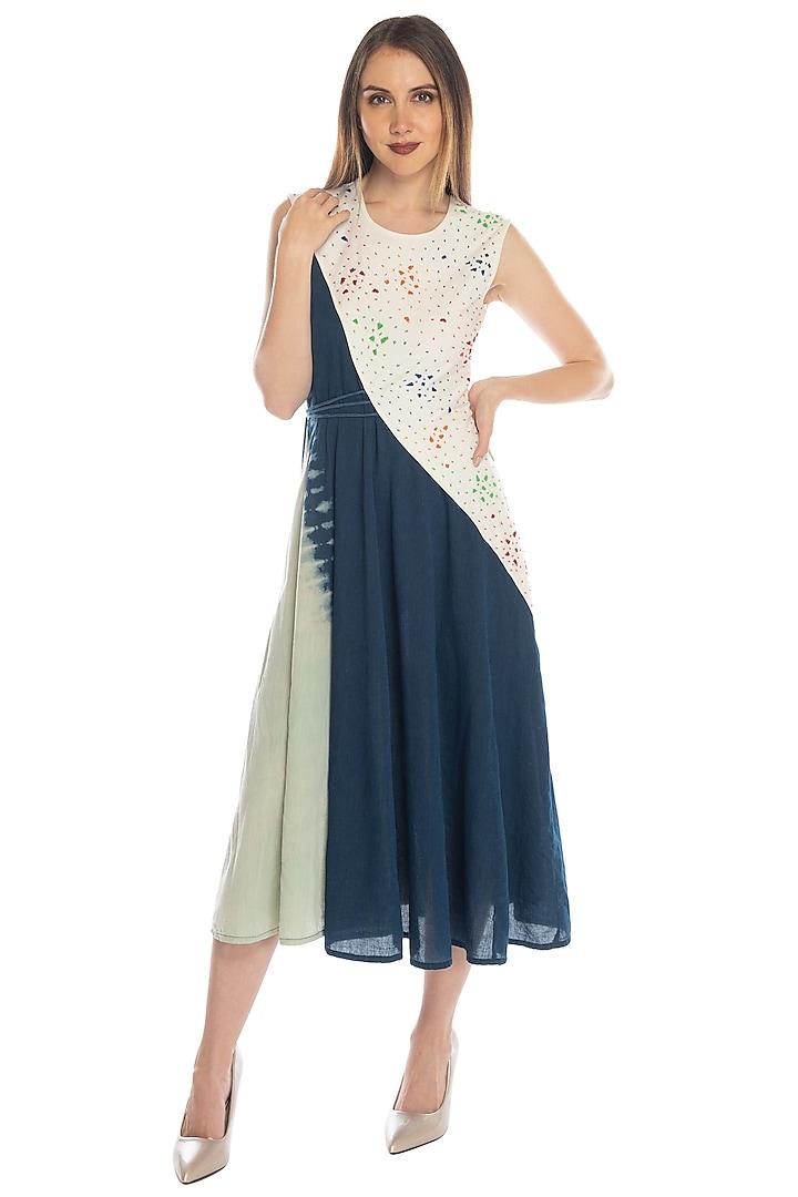 Cobalt Blue Embellished Asymmetric Dress by RS by Rippii Sethi