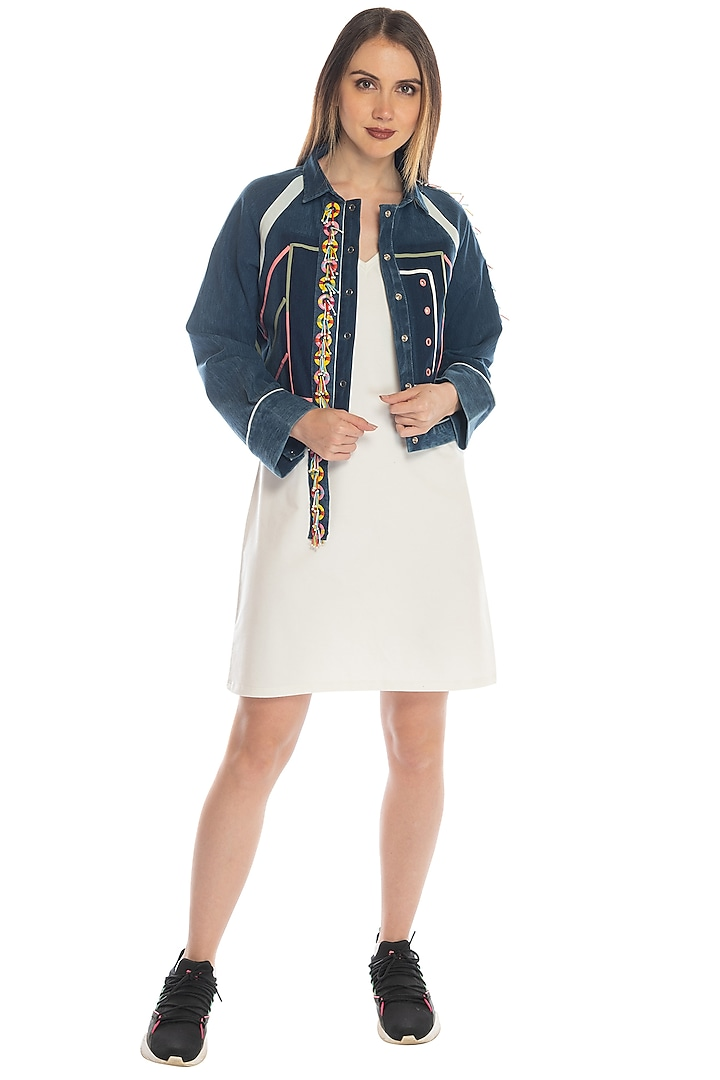 Cobalt Blue Jacket With Applique Embellishments by RS by Rippii Sethi