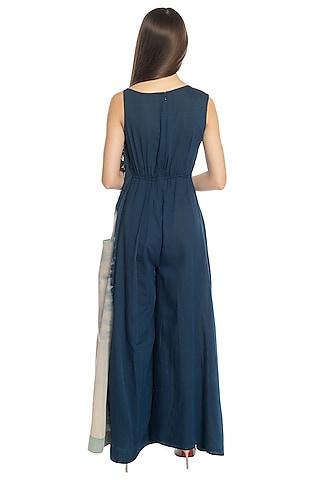 Cobalt Blue Tie & Dye Printed Jumpsuit by RS by Rippii Sethi