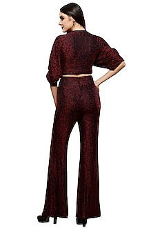 Red Metallic Crop Top With Palazzo Pants by RS by Rippii Sethi