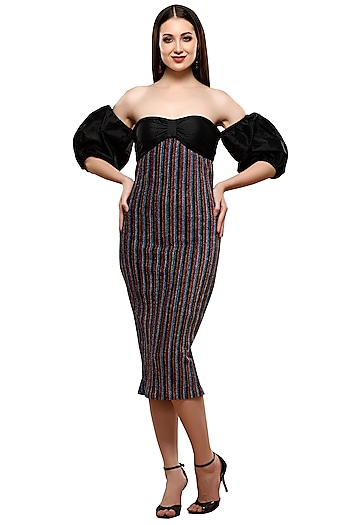 Multi Colored Striped Dress by RS by Rippii Sethi