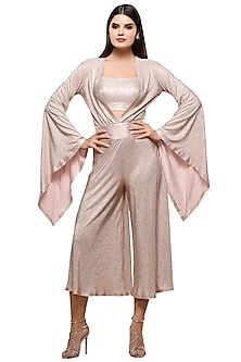 Pink Metallic Short Jumpsuit With Bustier by RS by Rippii Sethi