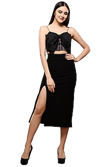Black Striped Crop Top With Slit Skirt by RS by Rippii Sethi