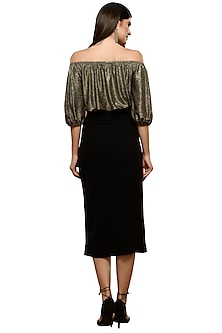 Black Metallic Off Shoulder Top With Slit Skirt by RS by Rippii Sethi