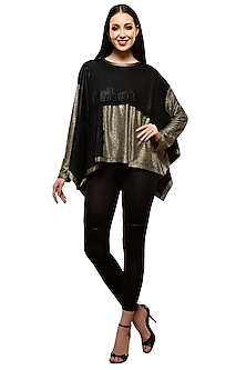 Black & Gold Metallic Top by RS by Rippii Sethi