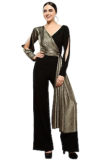 Black & Gold Metallic Draped Jumpsuit by RS by Rippii Sethi