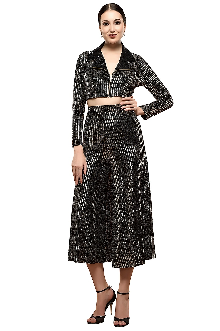 Silver Metallic Short Jacket With Culotte Pants by RS by Rippii Sethi