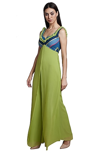 Bright Green Indo-Western Jumpsuit by RS by Rippii Sethi