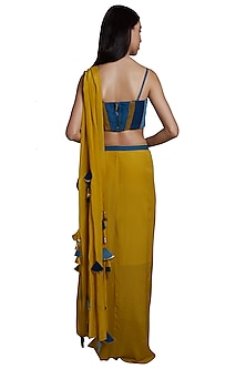 Yellow Pre-stitched Saree Set With Belt by RS by Rippii Sethi