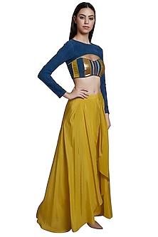 Yellow Skirt Style Pants With Denim Blouse & Crop Top by RS by Rippii Sethi