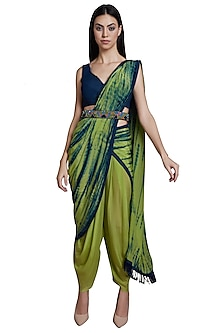 Green & Blue Tie-Dye Dhoti Saree Set With Embroidered Belt by RS by Rippii Sethi