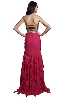 Pink Indo-Western Gown With Denim Detailing by RS by Rippii Sethi