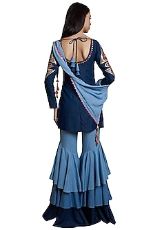 Indigo Embroidered Sharara Set by RS by Rippii Sethi