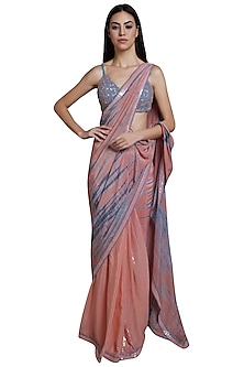 Pink Tie-Dye & Embroidered Saree Set by RS by Rippii Sethi