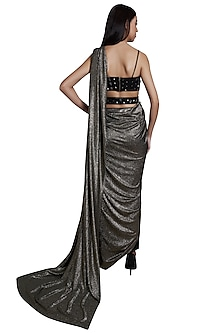 Black Pre-stitched Saree Set With Belt by RS by Rippii Sethi