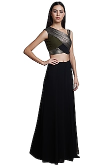 Black Palazzo Pants With Olive Green Pleated Crop Top by RS by Rippii Sethi