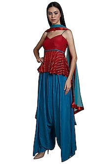 Red Peplum Top With Palazzo Pants & Dupatta by RS by Rippii Sethi