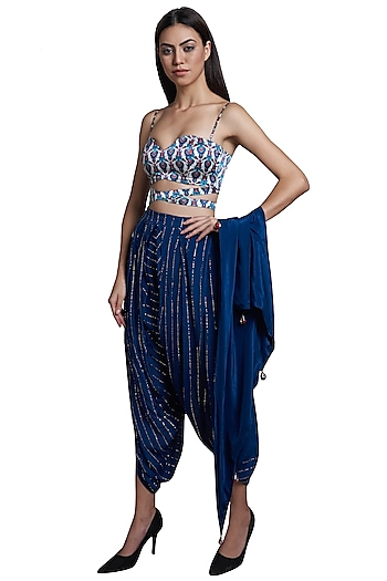 Blue Dhoti Pants With Printed Blouse & Scarf by RS by Rippii Sethi