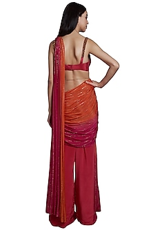 Pink Attached Drape Palazzo Pants With Blouse & Belt by RS by Rippii Sethi