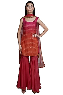 Pink Ombre Tassels Kurta Set by RS by Rippii Sethi