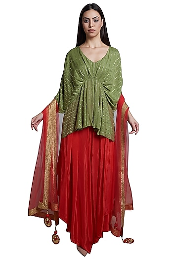 Red Draped Palazzo Pants With Peplum Top & Dupatta by RS by Rippii Sethi