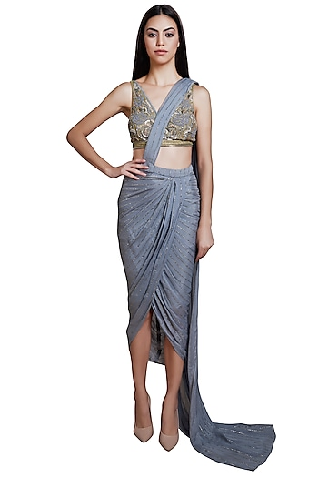 Grey Embroidered Pre-stitched Saree Set by RS by Rippii Sethi