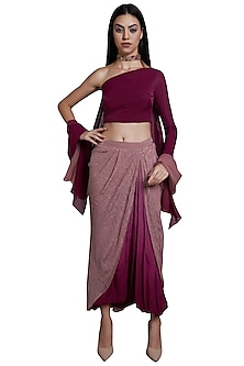 Pink Draped Skirt With Blouse & Choker Cape Dupatta by RS by Rippii Sethi