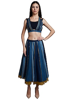 Indigo Crop Top With Midi Skirt by RS by Rippii Sethi
