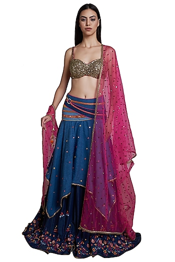 Indigo Embroidered Denim Lehenga Set by RS by Rippii Sethi