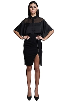 Black Cape Shirt With Embellished Skirt by RS by Rippii Sethi