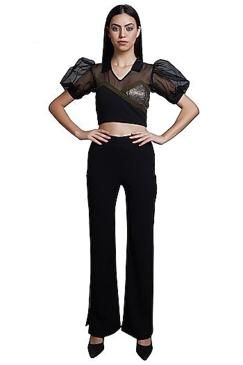 Black Embellished Crop Top With Pants by RS by Rippii Sethi