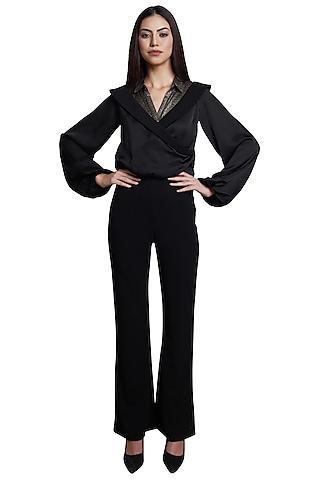 Black Metallic Embellished Jumpsuit by RS by Rippii Sethi