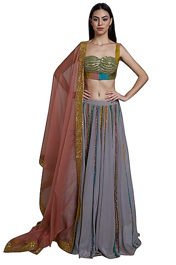 Grey Embroidered Lehenga Set by RS by Rippii Sethi