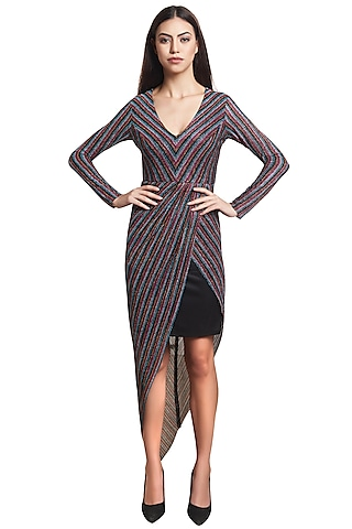 Multi Colored Polyester Striped Dress by RS by Rippii Sethi
