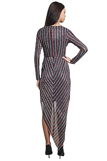 Multicolored Polyester & Georgette Striped Dress by RS by Rippii Sethi