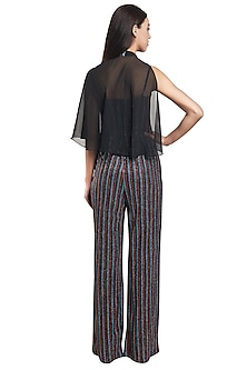 Multicolored Striped Jumpsuit With Black Cape by RS by Rippii Sethi