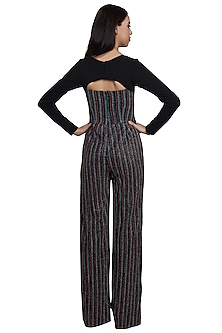 Multicolor Striped Peek-A-boo Jumpsuit by RS by Rippii Sethi