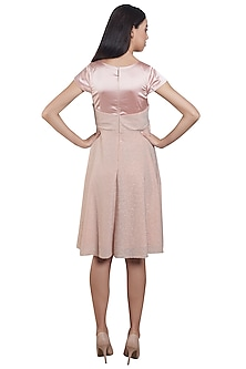 Pink & Silver Striped Bow Skater Dress by RS by Rippii Sethi