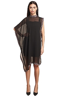 Black Bodycon Dress With Cape by RS by Rippii Sethi