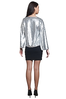 Grey Sequins Embellished Jacket by RS by Rippii Sethi