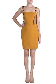 Mustard Embellished Mini Dress by RS by Rippii Sethi