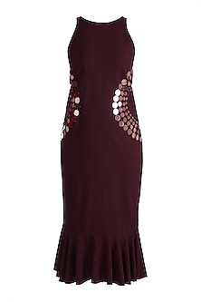 Wine Embellished Midi Dress by RS by Rippii Sethi