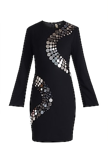 Black Embellished Shift Dress by RS by Rippii Sethi