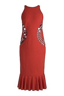 Brick Red Embellished Shift Dress by RS by Rippii Sethi