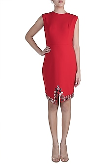 Red Embellished Solid Dress by RS by Rippii Sethi