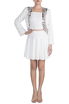 White Embellished Blazer With Tube Top & Skirt by RS by Rippii Sethi