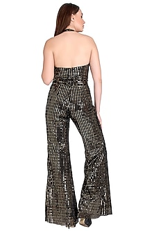 Gold & Black Halter Jumpsuit by RS by Rippii Sethi