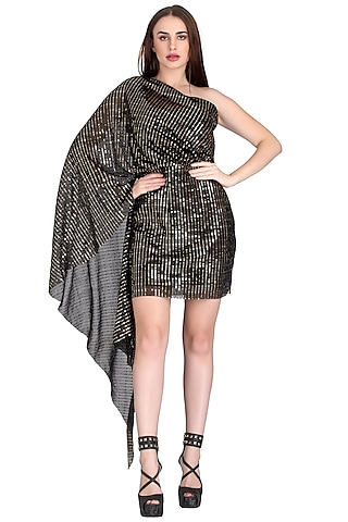 Black Draped Mini Dress With Silver Sequins  by RS by Rippii Sethi