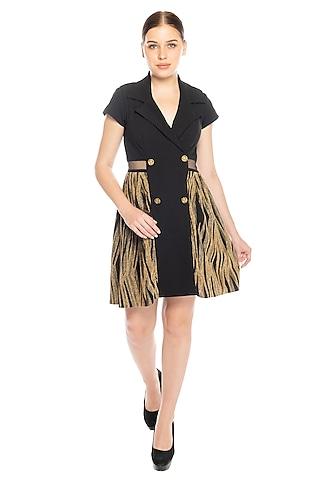 Black Zebra Printed Blazer Dress by RS by Rippii Sethi