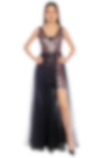 Black Sleeveless Bodycon Dress With Tulle Skirt by RS by Rippii Sethi